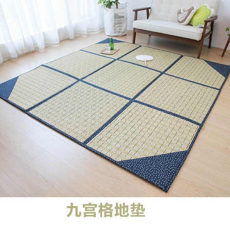 Японский натуральный растительный ковер для спальни, гостиной, татами, бытовой коврик с девятью сетками