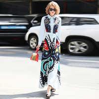 Truevoker Designer Spring Maxi Dress Women's High Quality Peter Pan Collar Long Sleeve Butterfly Printed Long Vestido