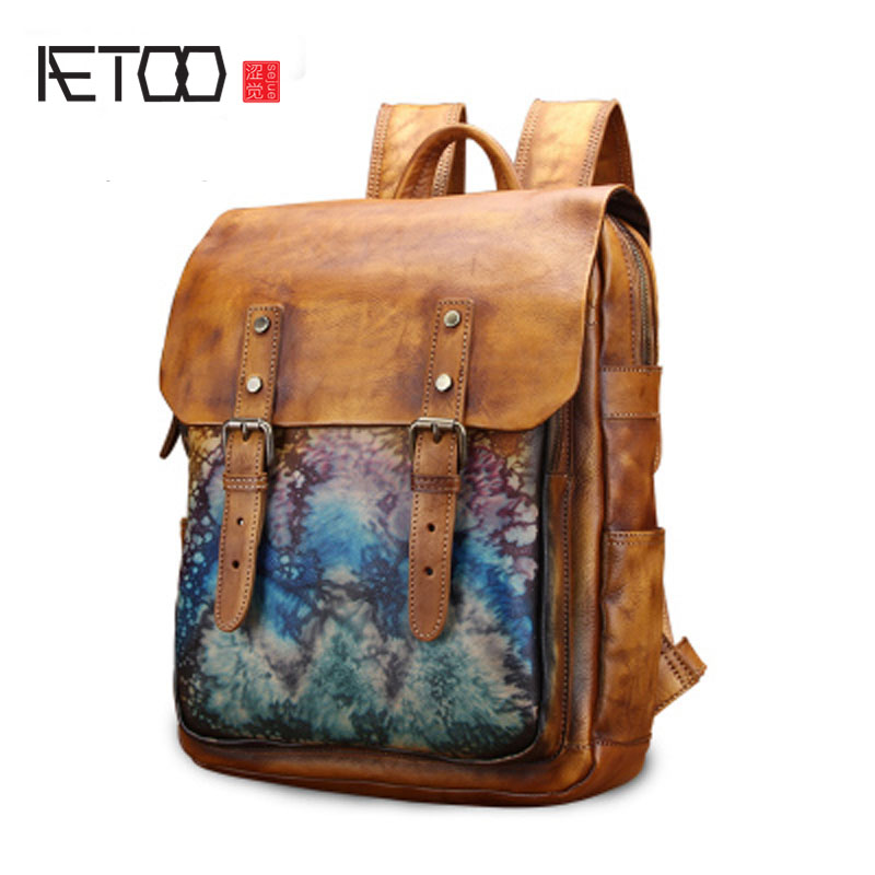 AETOO Shoulder bag male leather Korean version retro cowhide backpack British college wind neutral bag new travel bag aetoo original shoulder bag leather retro backpack business computer bag head layer leather travel male bag college wind