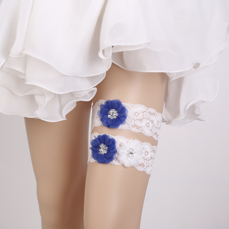Lace Wedding Garters: Lace Wedding Garter Blue Applique Chiffon Flower