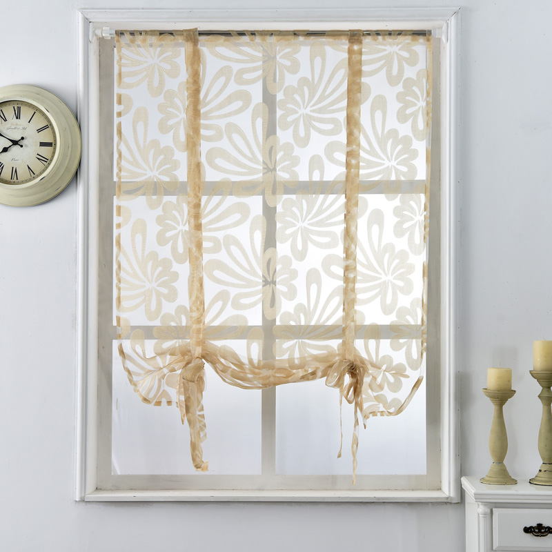 kitchen short curtains jacquard roman blinds floral white sheer panel blue tulle window. Black Bedroom Furniture Sets. Home Design Ideas