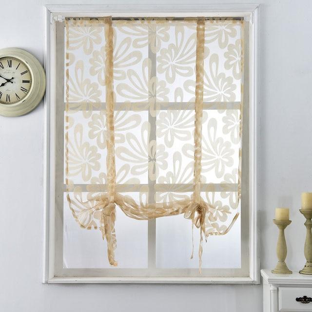 Online Shop Kitchen short curtains jacquard roman blinds floral ...