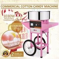 Nova marca Comercial Elétrica Máquina de Algodão Doce Floss Criador Rosa com Carrinho