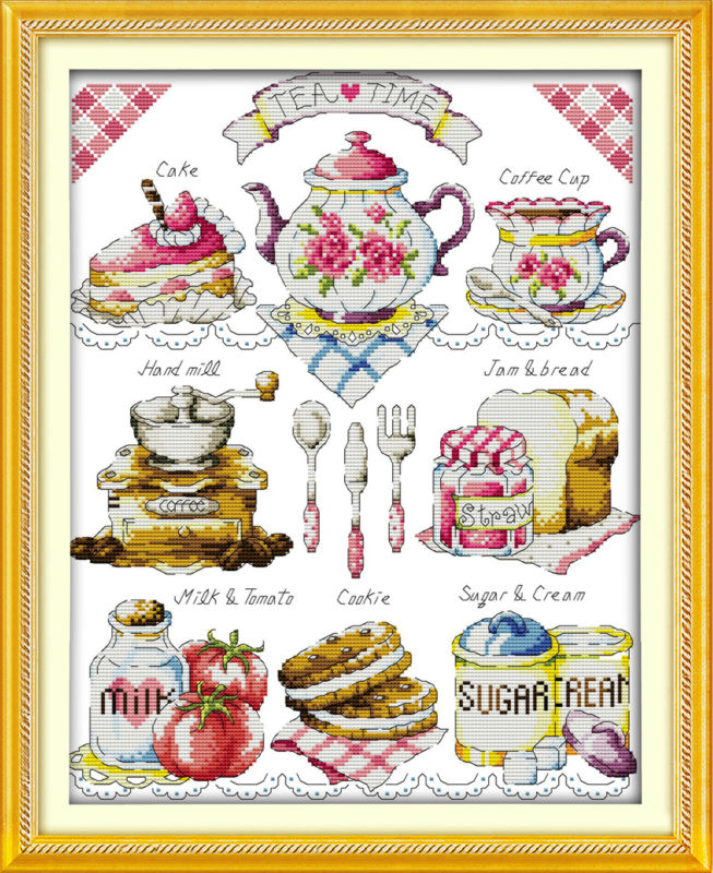 Dlicious Tea kake 11CT Trykt Stoff 14CT Canvas DMC Counted Kinesisk Cross Stitch Kit Crossstitch sett Broderi Needlework