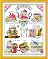 Dlicious Tea cake 11CT Printed Fabric 14CT Canvas DMC Counted Chinese Cross Stitch Kits Cross-stitch set Embroidery Needlework
