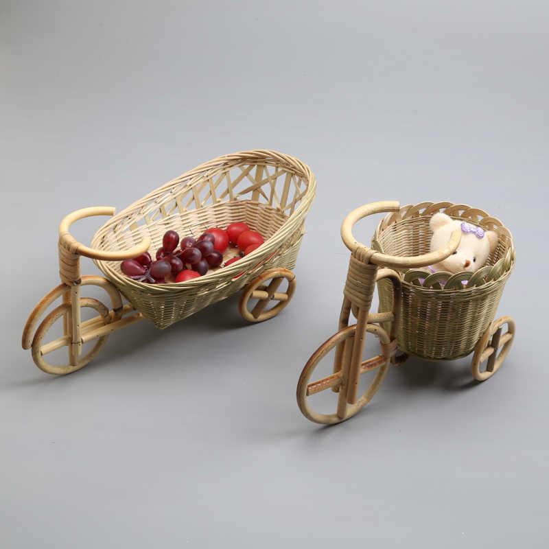 Bamboe handgemaakte geweven rieten stro mand rotan voor fruit Brood organizer Voor keuken Decoratieve fiets gift trimmen