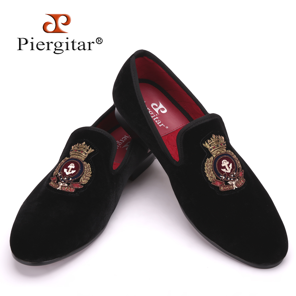 Piergitar New style men Velvet shoes with Hand stitch Bullion embroidery Party and Banquet Male Loafers Men Flats Size US 4-17 потолочный светодиодный светильник globo macan 42505 1