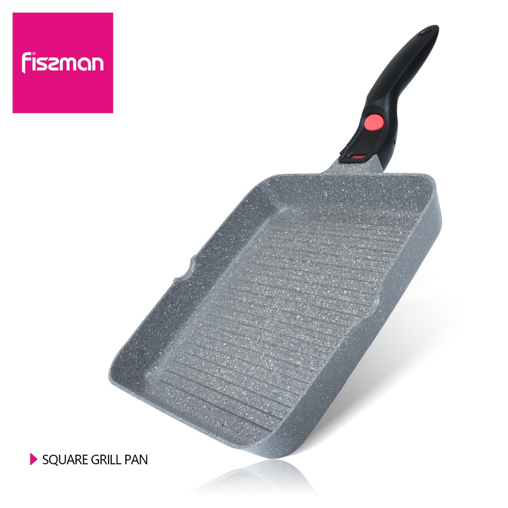 FISSMAN Grill Pan with Marble Coating No Oil smoke Use for Gas Induction Cooker