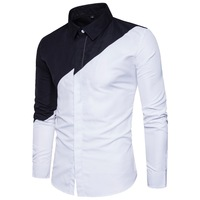 New Arrival Men Shirts Long Sleeve Turn Down Collar Covered Button Slim White And Black Patchwork
