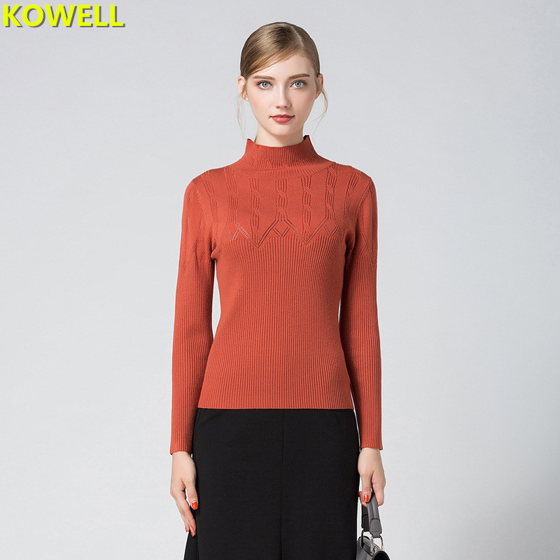 Hot Sale 2018 Spring Summer Womens Clothing Jumper Sweater Knitted Pullovers Slim Full Sleeve Turtleneck Solid Color Woman Tops