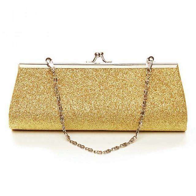 Woman Evening bag Shiny Glitter Clutch Purse Bag Evening Party Wedding Bridal Banquet Handbag Shoulder Bag with the Chain