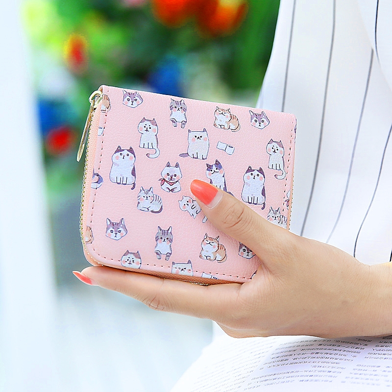 Korean New Small Cat Coin Purse Cute Women Cartoon Wallet Kawaii Bag Coin Pouch Fresh Girl Purse Holder Student Mini Coin Wallet