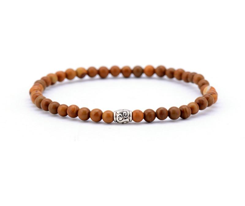 Men Bracelet 4mm Wood Stone With Tibetan Beads Elastic Handmade Stretch Bracelets Mens Jewelry In Strand From