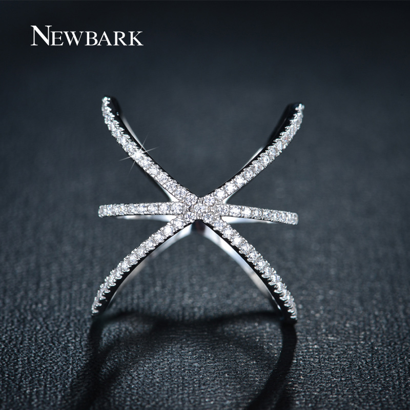 NEWBARK Trendy White Gold Plated Ring X Shape Cross Rings Micro Paved Cubic Zirconia Women Jewelry Bague Femme - Newbark Official Store store