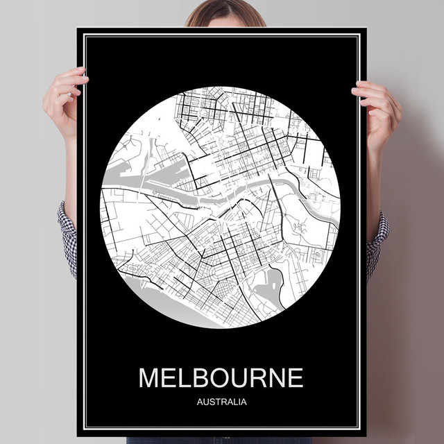 Melbourne australia abstract world city map print poster print on melbourne australia abstract world city map print poster print on paper or canvas wall sticker bar gumiabroncs Gallery