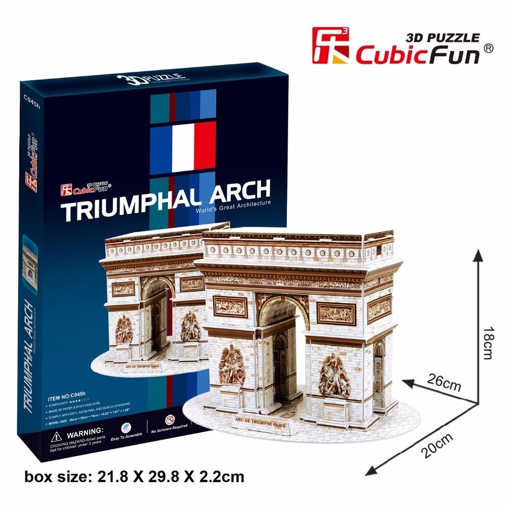 CubicFun 3D пазл легко французский Триумфальная Арка здания мировой архитектуры собраны модели развивающие игрушки