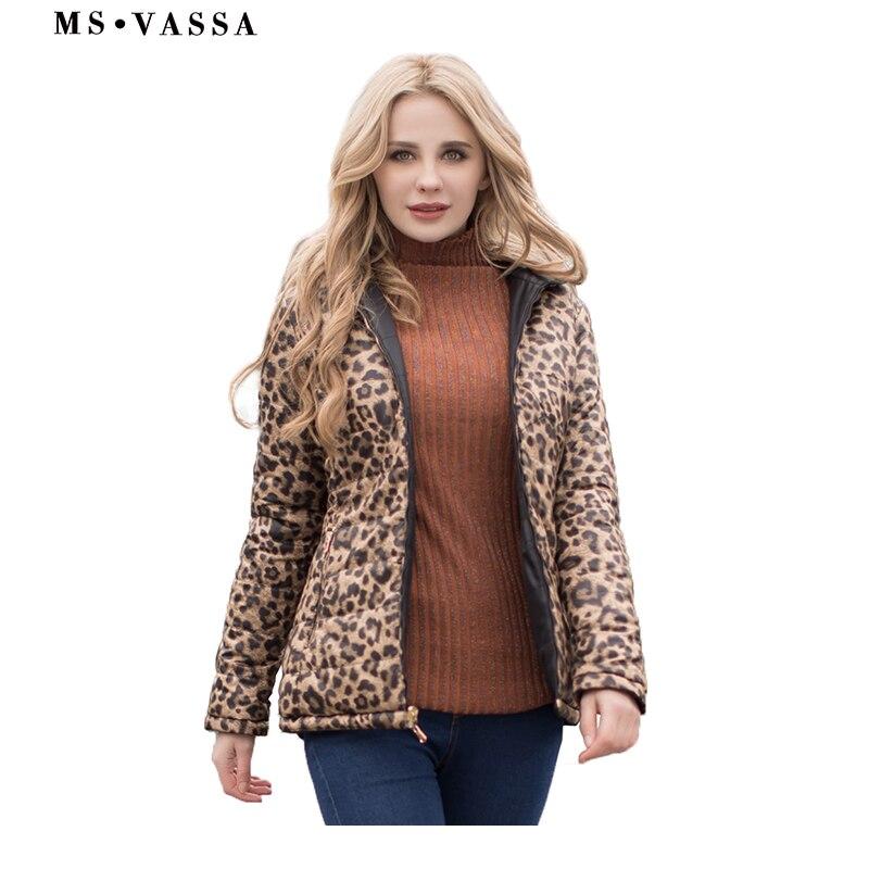 Kadın Giyim'ten Parkalar'de MS VASSA Kadın Parkas 2019 Yeni Bahar Kış geri dönüşümlü ceketler leo baskı artı boyutu 5XL 6XL stand up yaka Bayanlar giyim'da  Grup 1