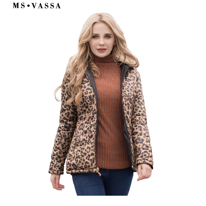 MS VASSA Women Parkas 2019 New Spring Winter reversible jackets leo print plus size 5XL 6XL stand up collar Ladies outerwear