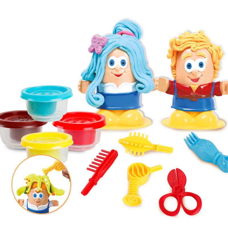 Play House Diy Originality Educational Funny Barber 3d Hairdresser Color Clay Scissor Comb Set Toy Child Kids Christmas Gifts High Quality And Inexpensive Pretend Play Toys & Hobbies