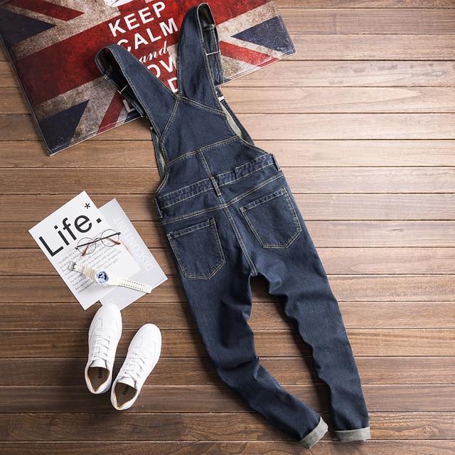 Sokotoo Men's dark blue denim bib overalls Slim fit jeans Casual pocket cargo pants Suspenders jumpsuits 2