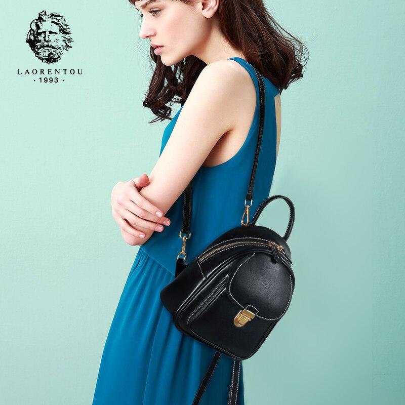 LAORENTOU Women Backpack Ladies Casual School Bag Female Genuine Cow Leather Backpacks Fashion Shoulder Bag for