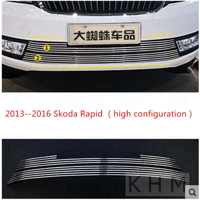 High quality stainless steel Front Grille Around Trim Racing Grills Trim For 2013--2016 Skoda Rapid (high configuration) stainless steel car racing grills for mazda cx 5 2013 2016 front grill grille cover trim car styling