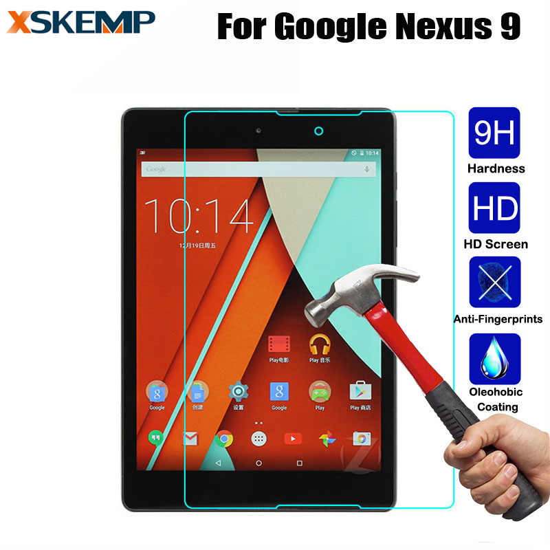 Thin Premium Explosion-Proof 9H Real Tempered Glass Guard Film For Google Nexus 9 Tablet 0.3MM LCD Screen Protector Protective