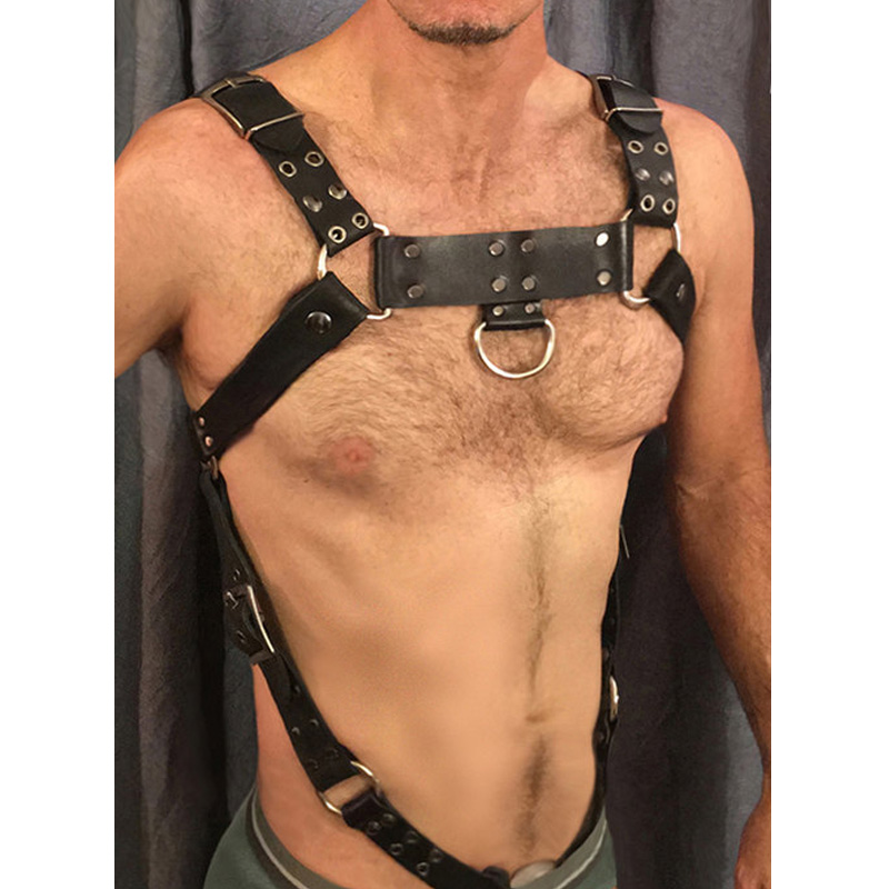 UYEE New Faux Leather Harness Belts Men Designer Lingerie Adjustable Metal Buckle Waist Body Bondage Belt Suspenders  LM-031