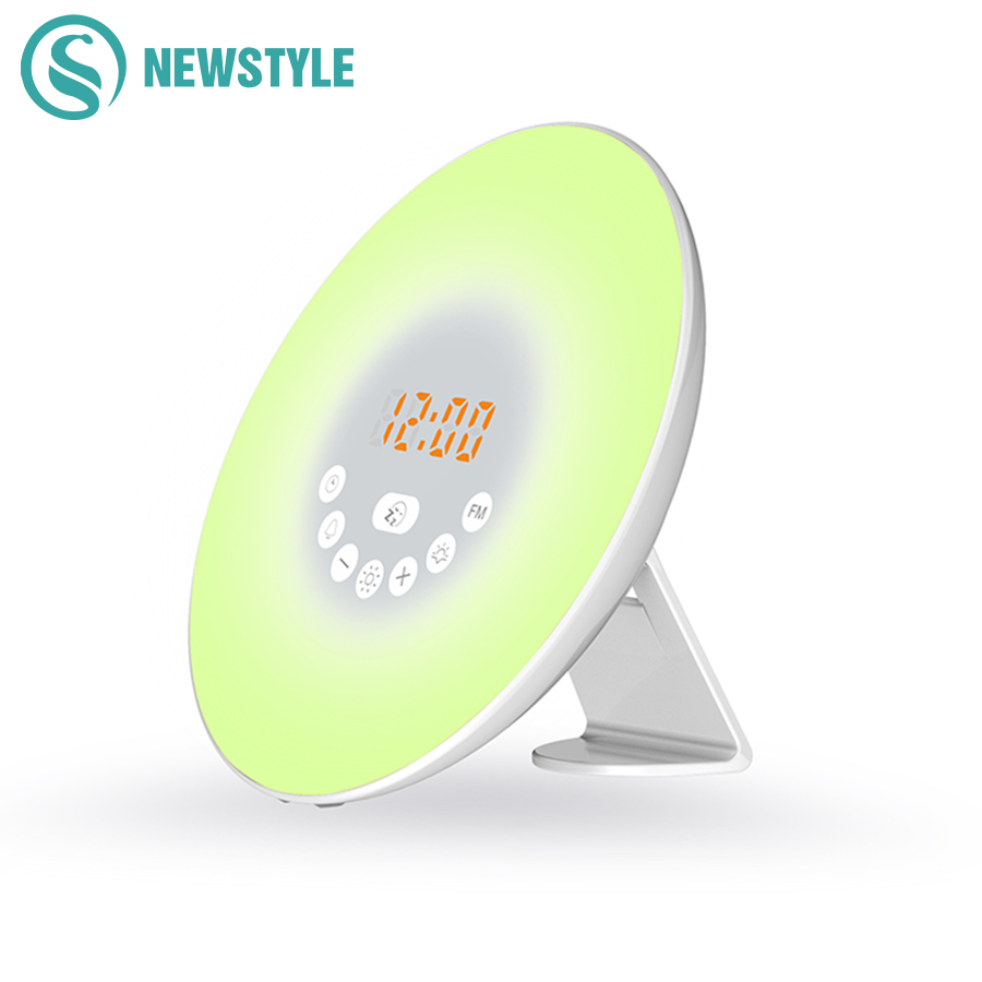 New Digital Night Light Led Alarm Clock FM Radio and Natural Sound with Wake Up Alarm Snooze Sleep Function Red Time Display inlife wake up light fm radio time display snooze alarm clock bedside mood lamp