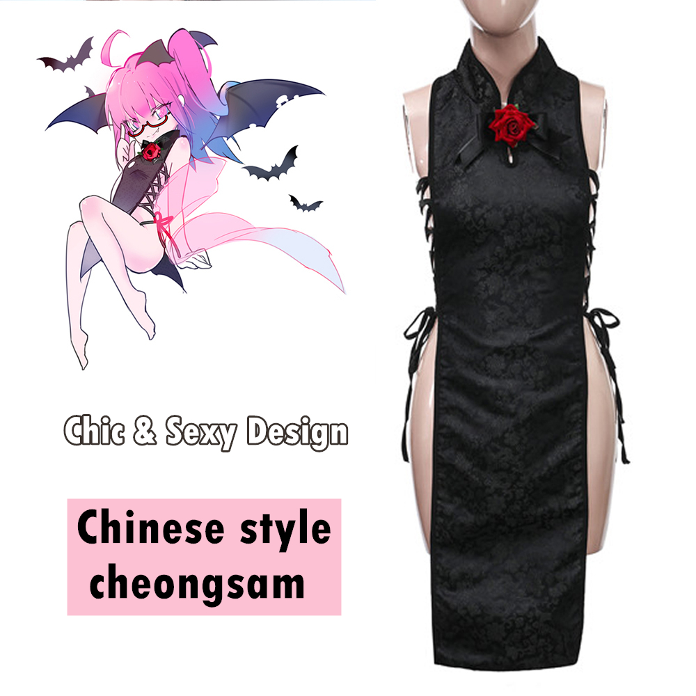 Women's Sexy Cosplay Lingerie Keyhole Floral Satin Long Chinese Dress Cheongsam Erotic Dress