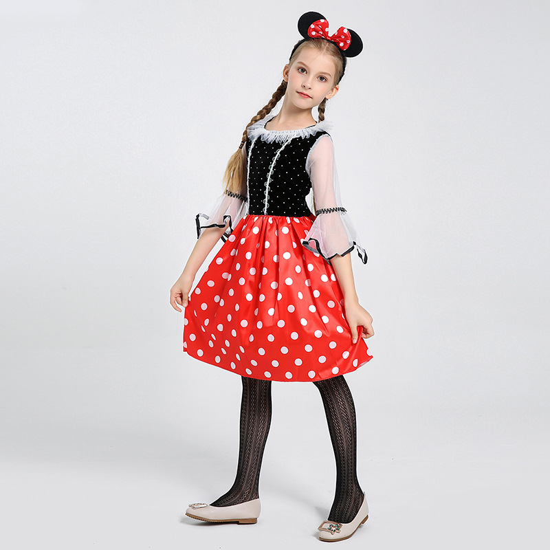 Lovely Girls Minnie Mouse Fancy Dress Halloween Costume