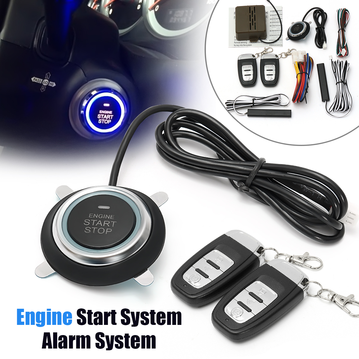 Car Push Button Start Stop System Mulitifuntion Smart E Models Remote Control Car Alarm Start Keyless Entry System Accessories easyguard pke car alarm system remote engine start stop shock sensor push button start stop window rise up automatically