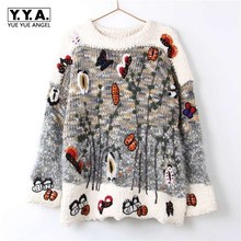 Wholesale Jaqueta Feminina Inverno Women Cashmere Pullover Sweaters Inverno Winter Oversized Embroidery Casacos Femininos