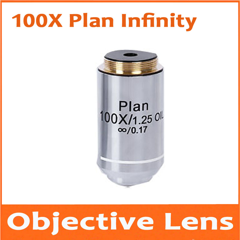 1pc 100X 195 Metal Infinity Plan Achromatic Objective Lens Educational Olympus Biomicroscope Biological Microscope 20.2mm 195 universal 1x infinity objective lens for biological microscope