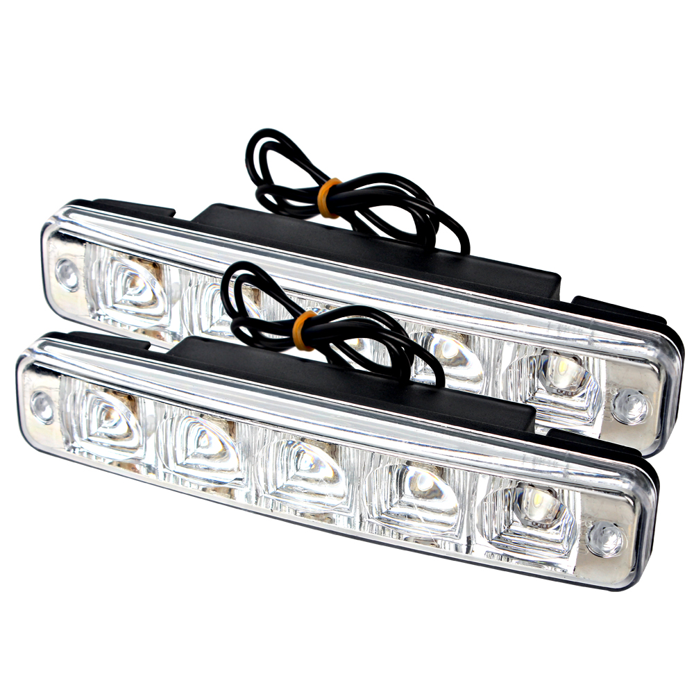 1 Pair LED Car Daytime Running Light DRL Super Bright 5 LEDs Universal Car-styling External Light Source Automobiles Fog Lamp