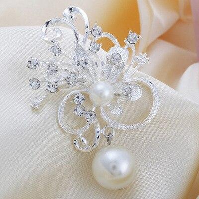 Корейский жемчуг брошь кулон модная одежда белый цветок flash дрель небольшой свежий простые Броши повышения темперамент