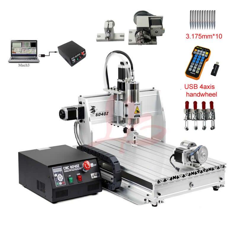 Cnc 6040 macchina per incidere del router 4 assi lavorazione del legno fresatura macchina 1500 w di raffreddamento del mandrino mach3 controllo volantino