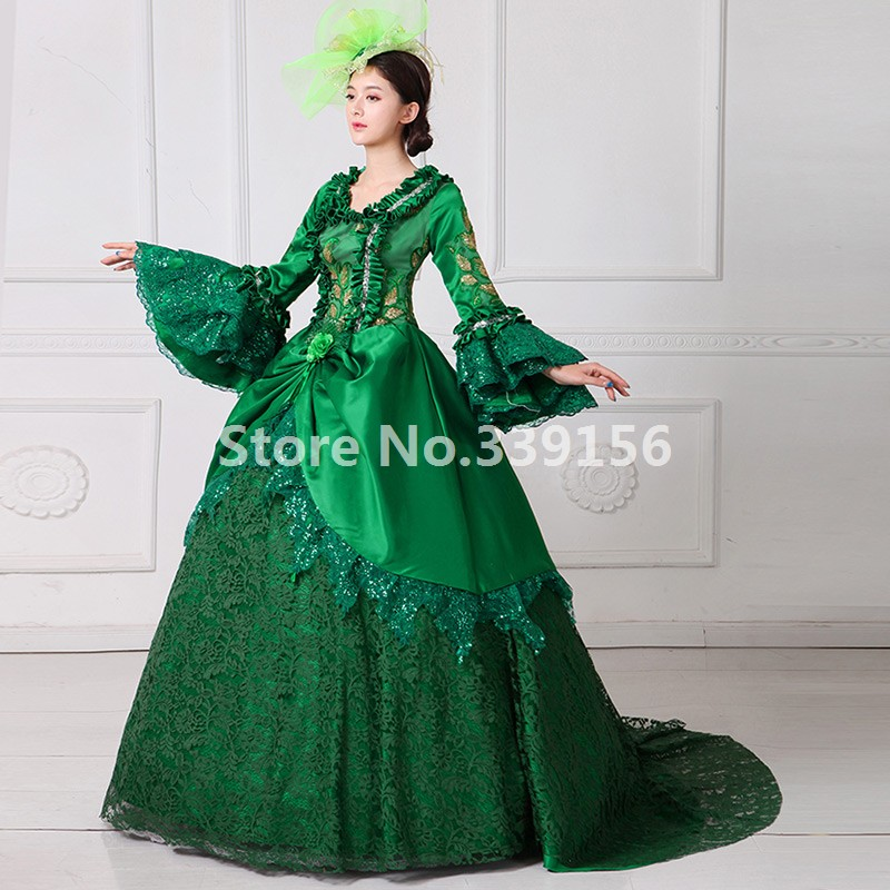 Green Victorian Lace Dress 18th Century Gown Vintage Women Dress ...