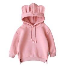 4cb7e17b MUQGEW/зимняя одежда для маленьких мальчиков и девочек с капюшоном и  объемными ушками, толстовка с капюшоном, топы, roupa infant.