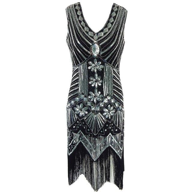 Glänzende damen 1920 s stil flapper dress 1920 s vintage gatsby great gatsby  charleston pailletten quaste cda0d9b563