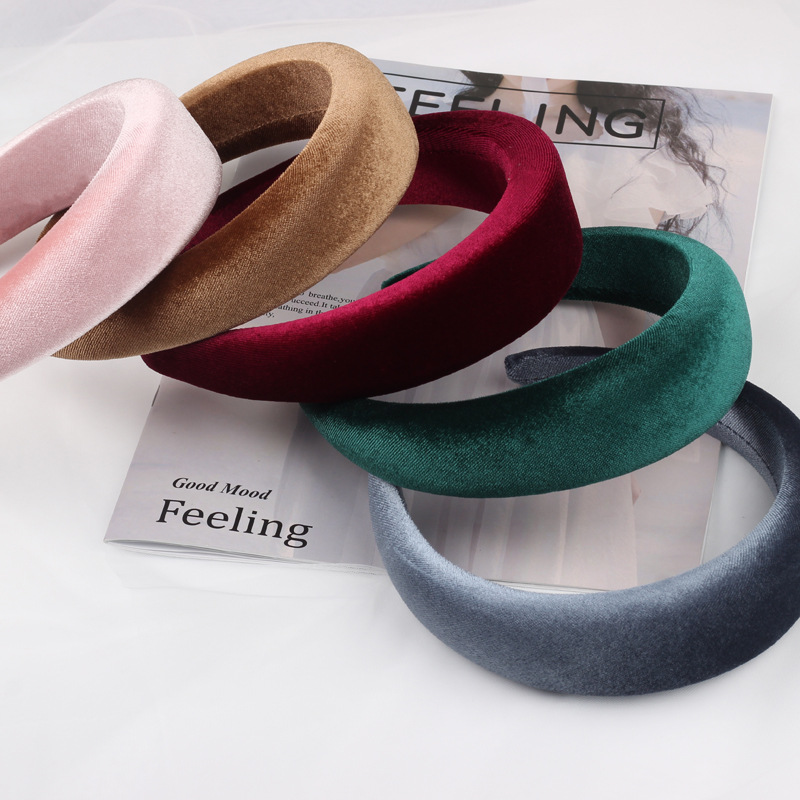 Ruoshui Woman Velvet Headband Sponge Hairband Fashion Turban Solid Haarband Hair Hoops Women Hair Accessories Drop Shipping