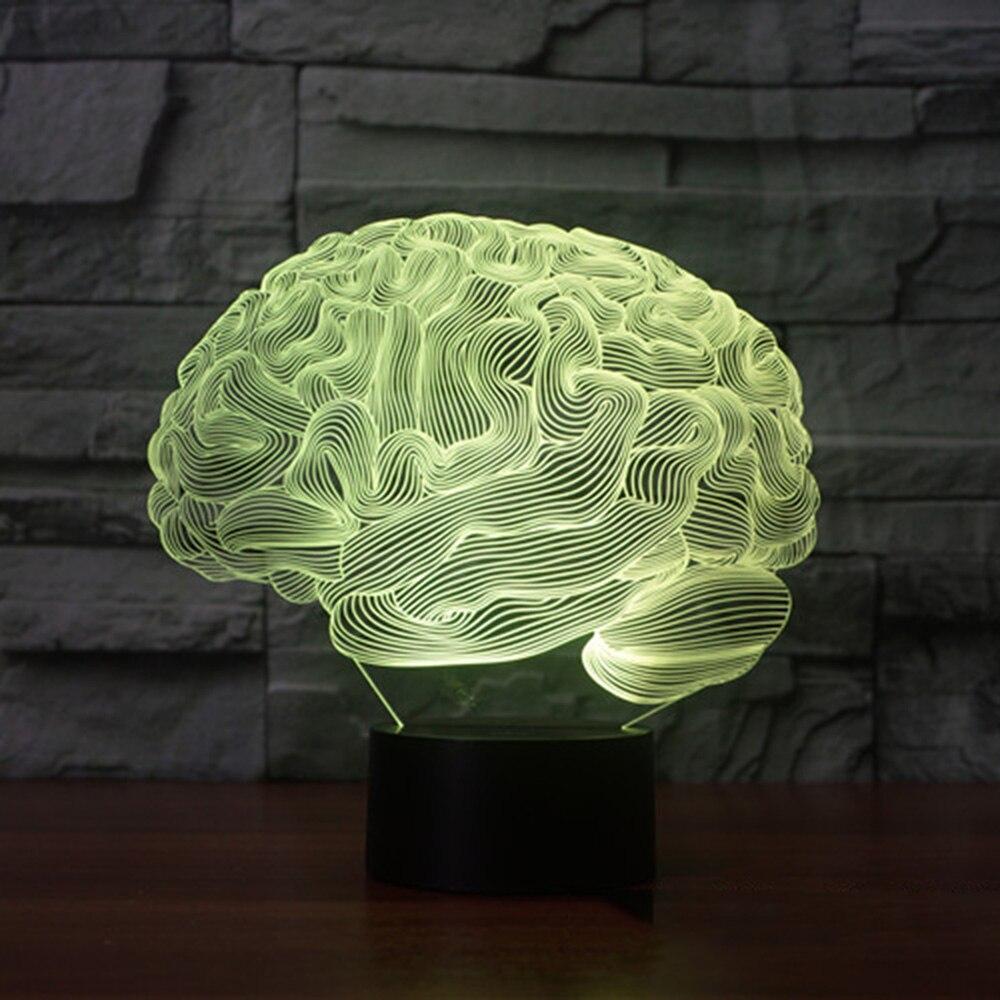 Di Figura del cervello del 3D Illusion Lampada 7 Cambiamento di Colore Interruttore di Tocco di Luce di Notte del LED Acrilico lampada Da Tavolo Lampada Atmosfera di Illuminazione Della Novità
