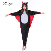 Cartoon Anime Bat Pajamas Sleepwear Cosplay Costume Adult Animal Onesie Pyjamas Party Sleepsuit Long Sleeve Flannel