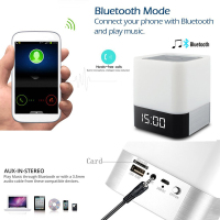 Bedside Lamp/mp3 Music Player Alarm Clock Led Alarm Clock With Night Light Bluetooth Speakers All In 1 Touch Sensor
