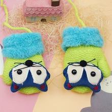 Children Gloves 2016 Winter Boy Girl Lanyard Gloves Fashion Cute Cartoon Fox Wool Mittens Infant Thicking Knitted Warm Gloves