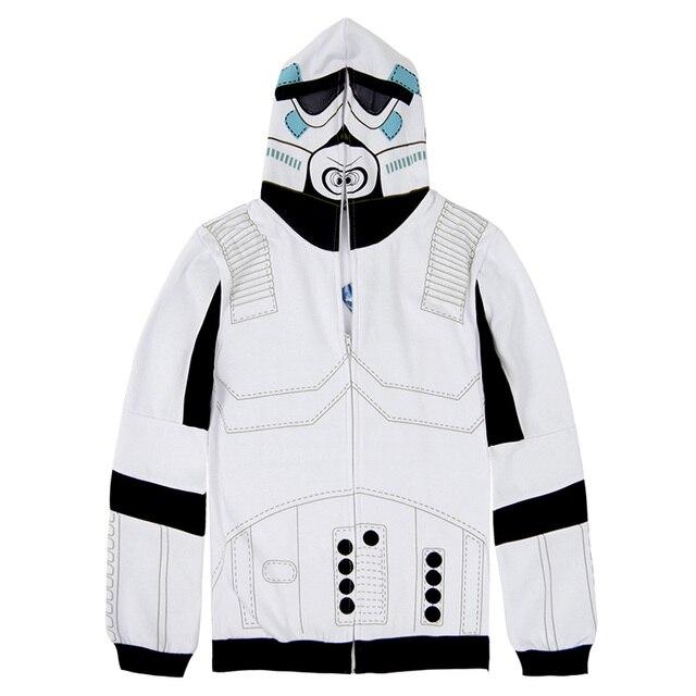 Star Wars Stormtrooper Cosplay Traje Chaqueta De Hombre de Invierno Sweatershirt Sudaderas Con Capucha Blanca de Halloween Uniforme Top
