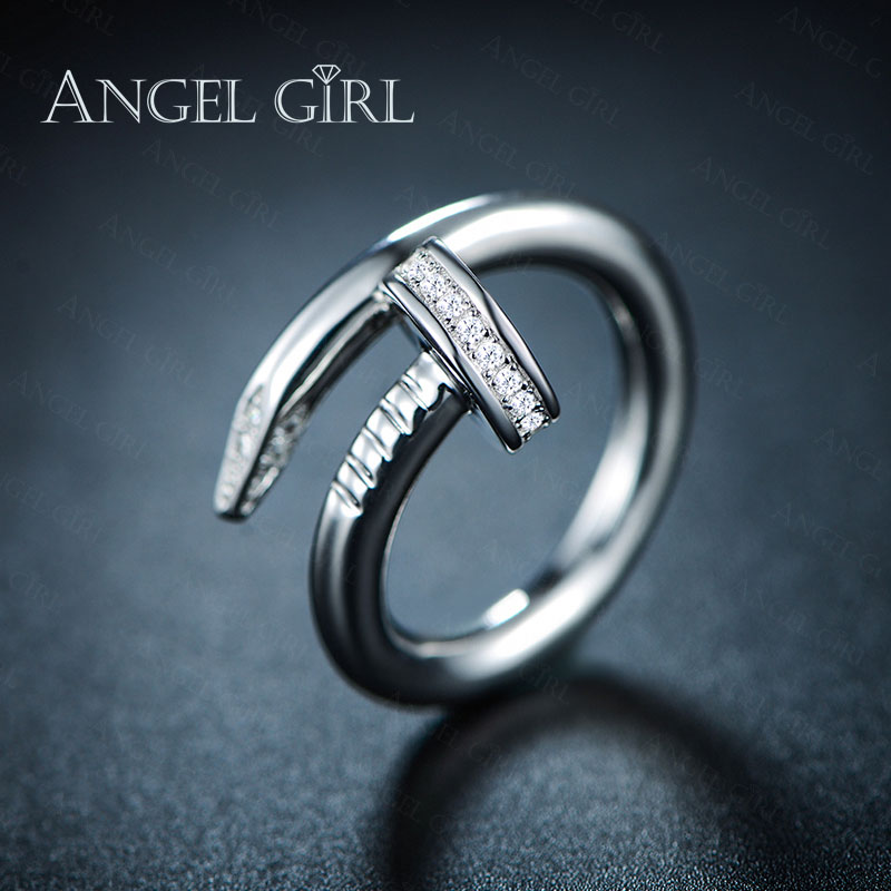 Angel Girl Gift AAA + CZ Anillo de boda de color oro blanco - Bisutería