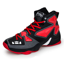 2016 Men High Top Basketball Shoes Sneakers Black/Red/Yellow Basketball Sports Shoes Men Leahter Sport Gym Boots Athletic Shoes
