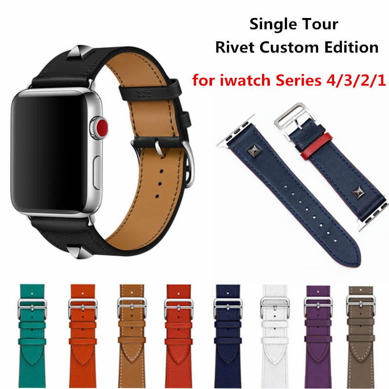 Genuine Leather Rivet Custom Edition Single Tour Watch band Strap For herm Apple Watch Series 1 2 3 4 iwatch 40 44mm watchbands for apple series 4 double tour watchbands genuine leather strap wrist watch band for apple watch 1 2 3 4 herm bracelet 40mm 44mm