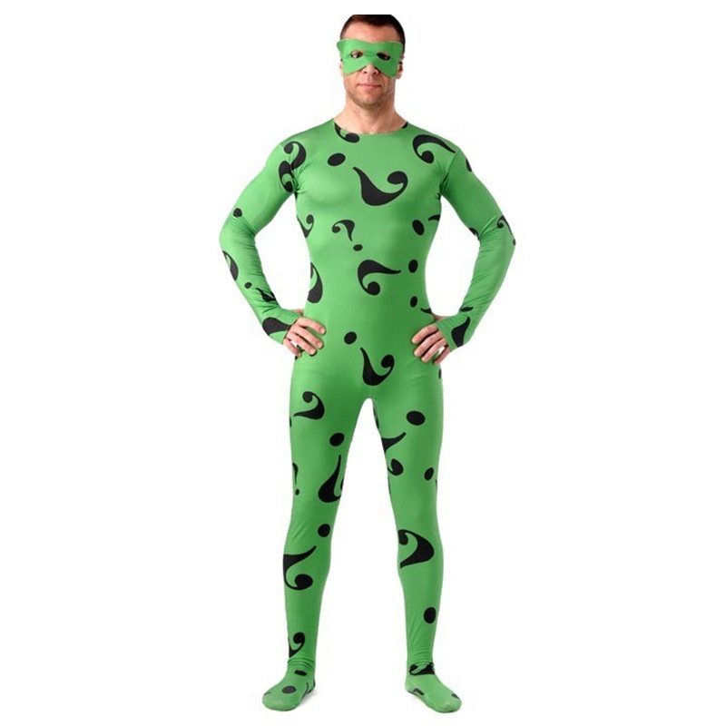 High Quality Men's/Children's Spandex Riddler Cosplay Costumes Adults Lycra Zentai Male Suits Halloween Men Costume Bodysuit